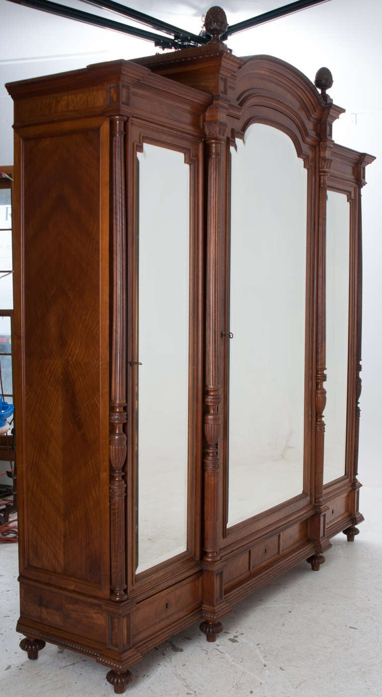 french louis xvi style walnut 3 door mirror front armoire at 1stdibs. Black Bedroom Furniture Sets. Home Design Ideas