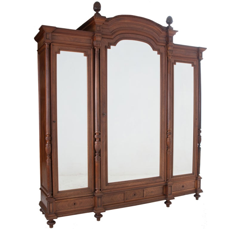 French louis xvi style walnut 3 door mirror front armoire for French style front door