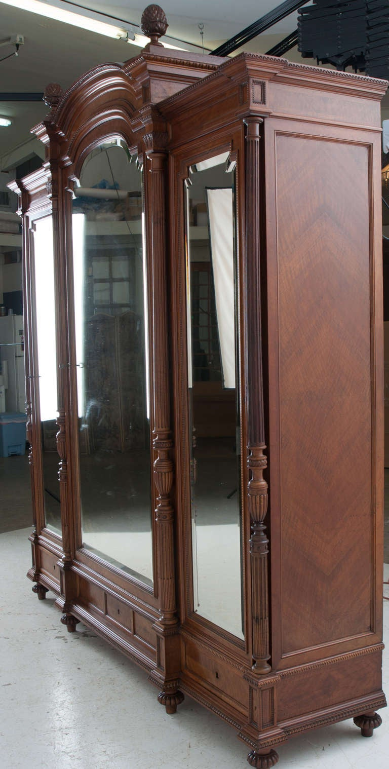 french louis xvi style walnut 3 door mirror front armoire. Black Bedroom Furniture Sets. Home Design Ideas