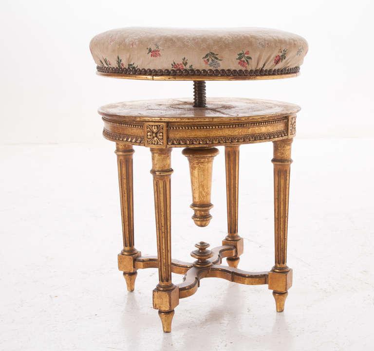 French Gold Gilt Louis Xvi Style Adjustable Vanity Stool