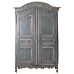 French, Early 19th Century Painted Cherry Armoire