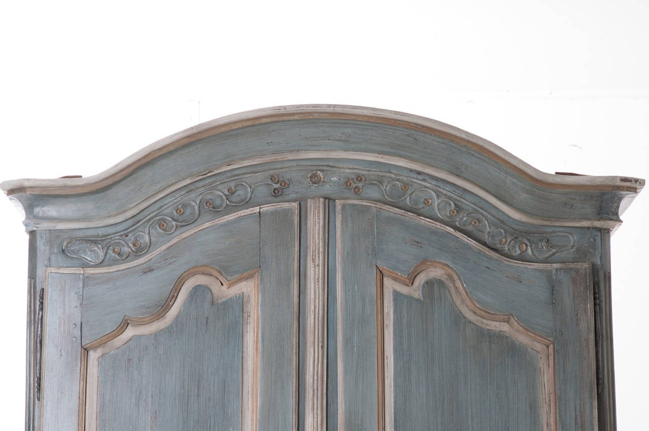 Louis XV French, Early 19th Century Painted Cherry Armoire For Sale