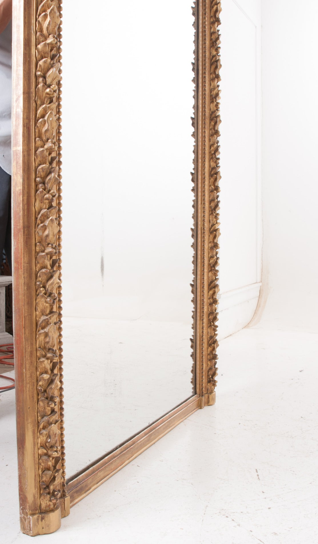 French 19th Century Large Gold Gilt Leaf And Berry Mirror