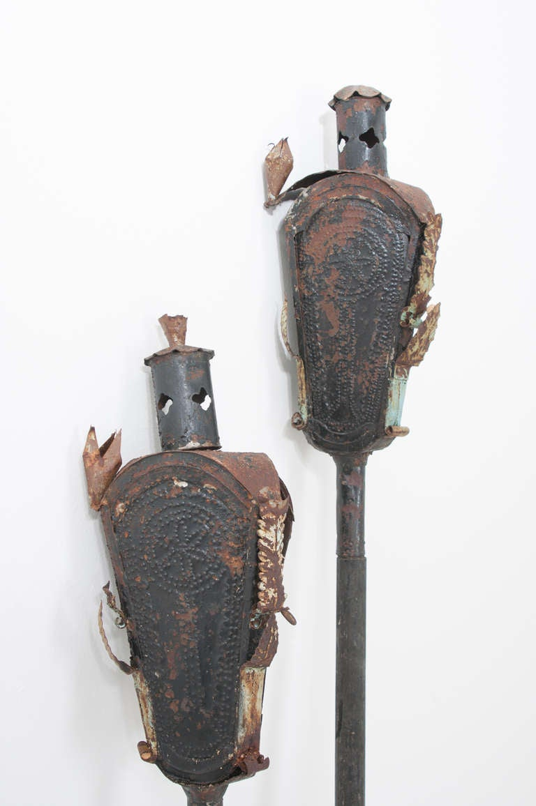 Gothic Revival Religious Italian 19th Century Pair of Incense Torches For Sale