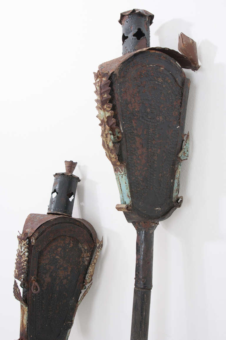 Religious Italian 19th Century Pair of Incense Torches In Good Condition For Sale In Baton Rouge, LA