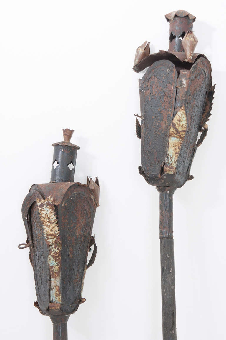 18th Century and Earlier Religious Italian 19th Century Pair of Incense Torches For Sale