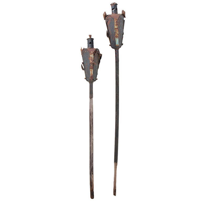 Religious Italian 19th Century Pair of Incense Torches For Sale