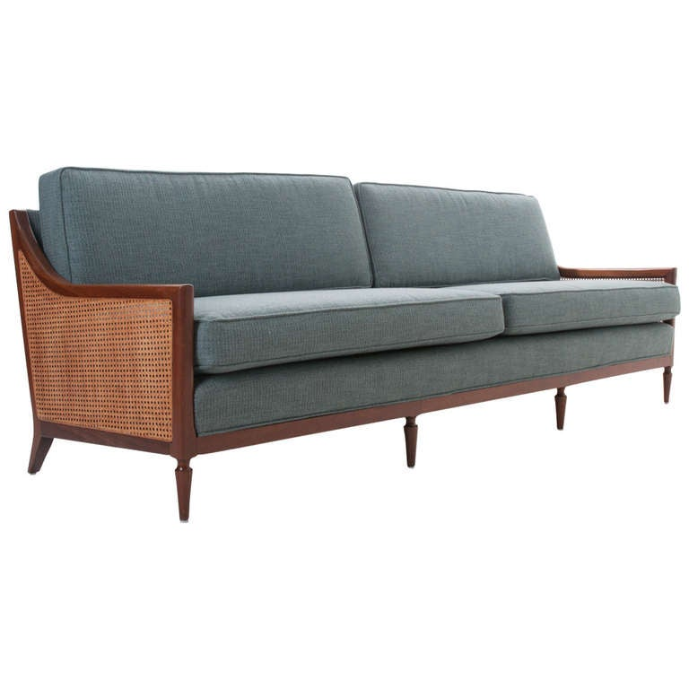 Mid Century Modern Reclining Sofa: Mid-Century Modern Walnut And Cane Upholstered Sofa At 1stdibs