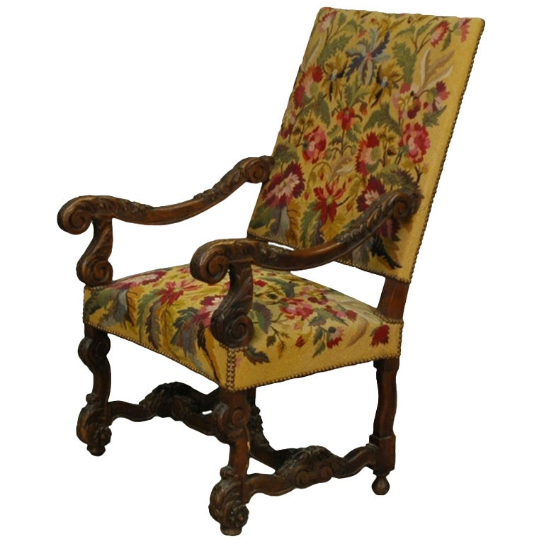 French Louis Xiv Style Walnut Carved Tapestry Chair At 1stdibs