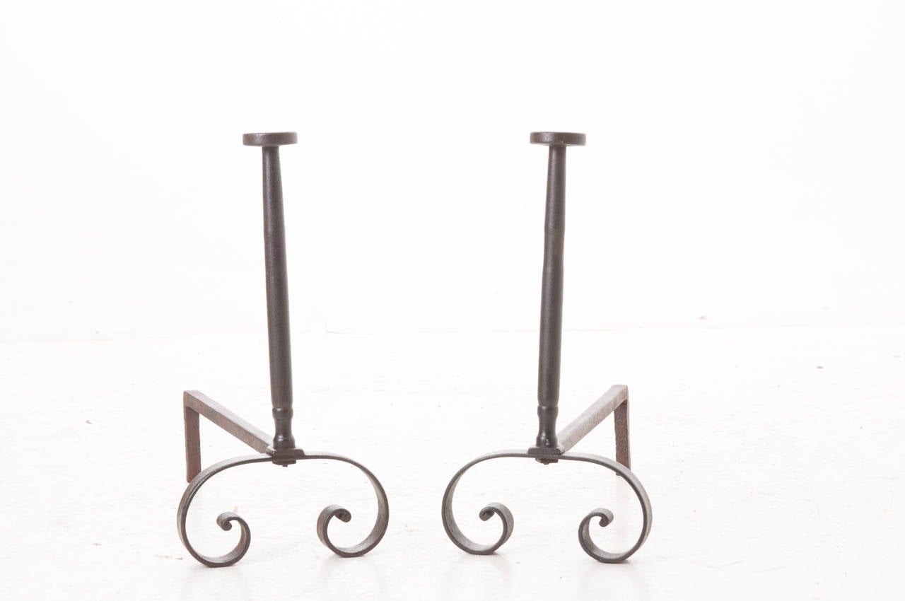 pair of french 19th century iron andirons at 1stdibs