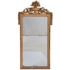 French 19th Century Gold Gilt Mirror with Urn