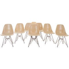 Set of 8 Eames for Herman Miller Chairs with Eiffel Tower Base