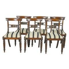Set (6) English Sheraton Dinning Chairs