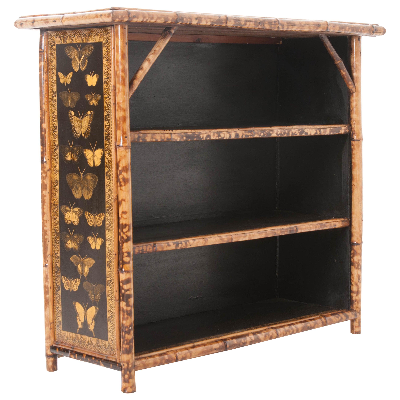 English 19th Century Bamboo \u0026 Decoupage Butterfly Bookshelf