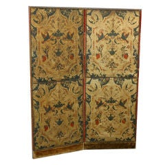 Italian Screen. Embossed & Painted Leather