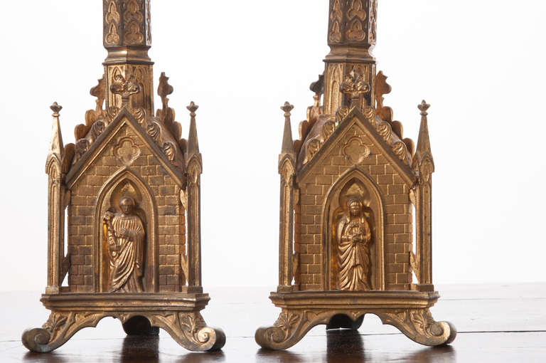 Pair of 19th Century Gothic Revival Gilt Bronze Altar Candlesticks In Excellent Condition For Sale In Baton Rouge, LA