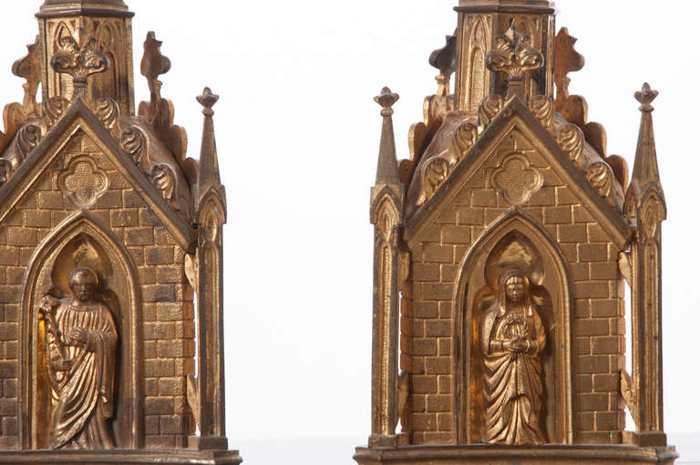 Pair of 19th Century Gothic Revival Gilt Bronze Altar Candlesticks For Sale 1