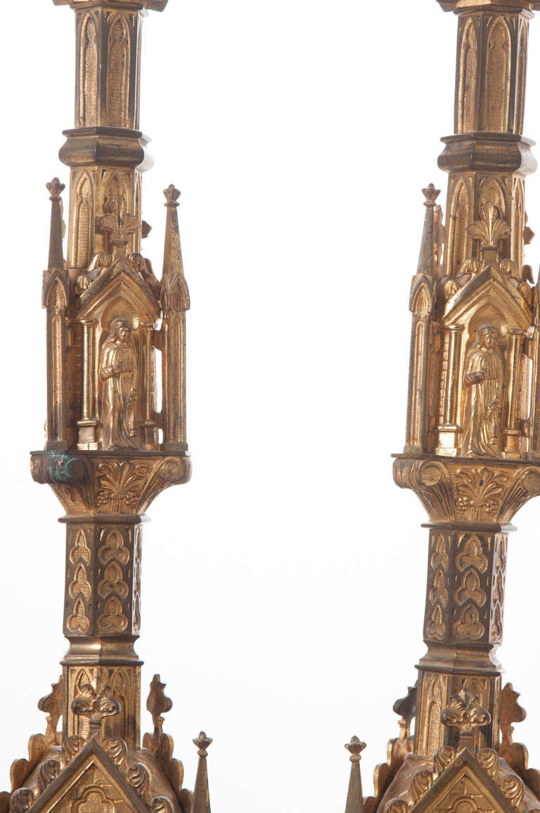 Pair of 19th Century Gothic Revival Gilt Bronze Altar Candlesticks For Sale 2