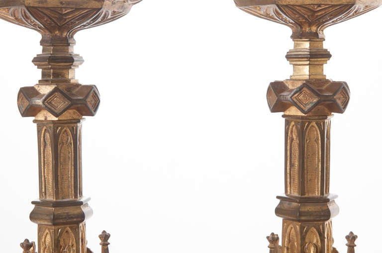 Pair of 19th Century Gothic Revival Gilt Bronze Altar Candlesticks For Sale 3