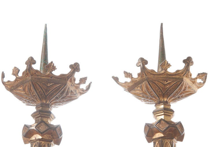 Pair of 19th Century Gothic Revival Gilt Bronze Altar Candlesticks For Sale 4