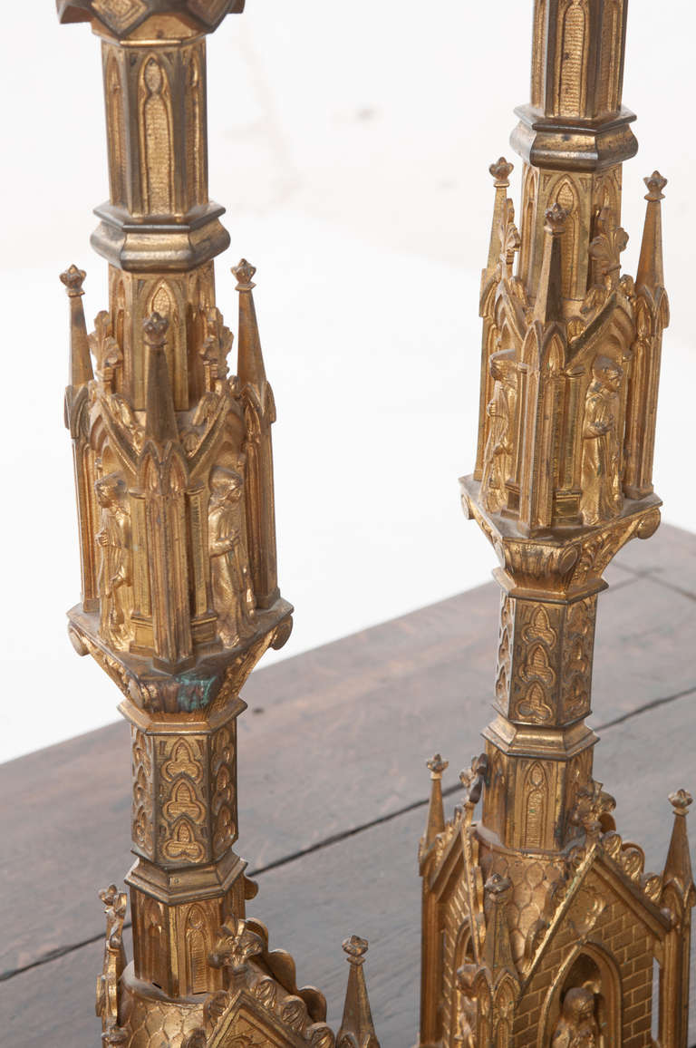 Pair of 19th Century Gothic Revival Gilt Bronze Altar Candlesticks For Sale 5