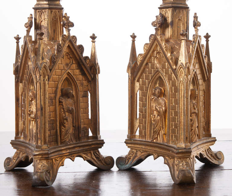 Home Altars For Sale: Pair Of 19th Century Gothic Revival Gilt Bronze Altar