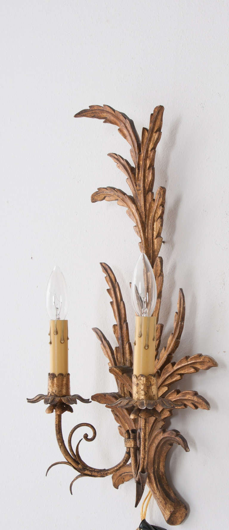 Italian Made Wall Sconces : Italian Pair of 1930s Gold Gilt Wall Sconces at 1stdibs