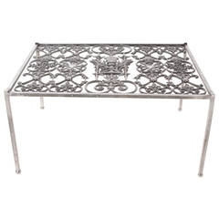 English 19th Century Religious Iron Grill Coffee Table