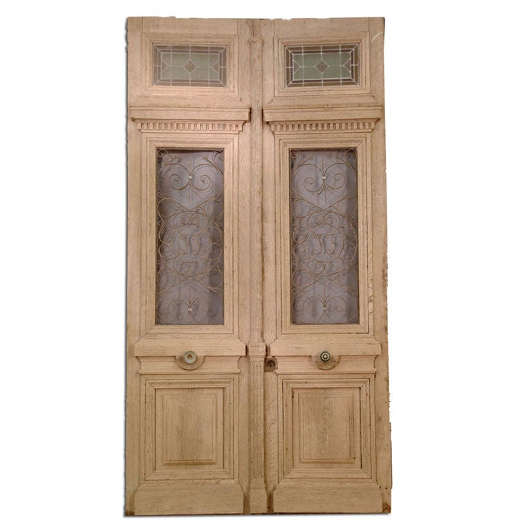 French oak double doors with iron and stained glass at 1stdibs for Double glass french doors