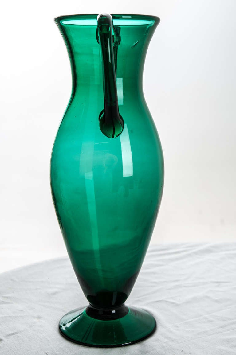 French 1940s Emerald Vintage Glass Vase At 1stdibs