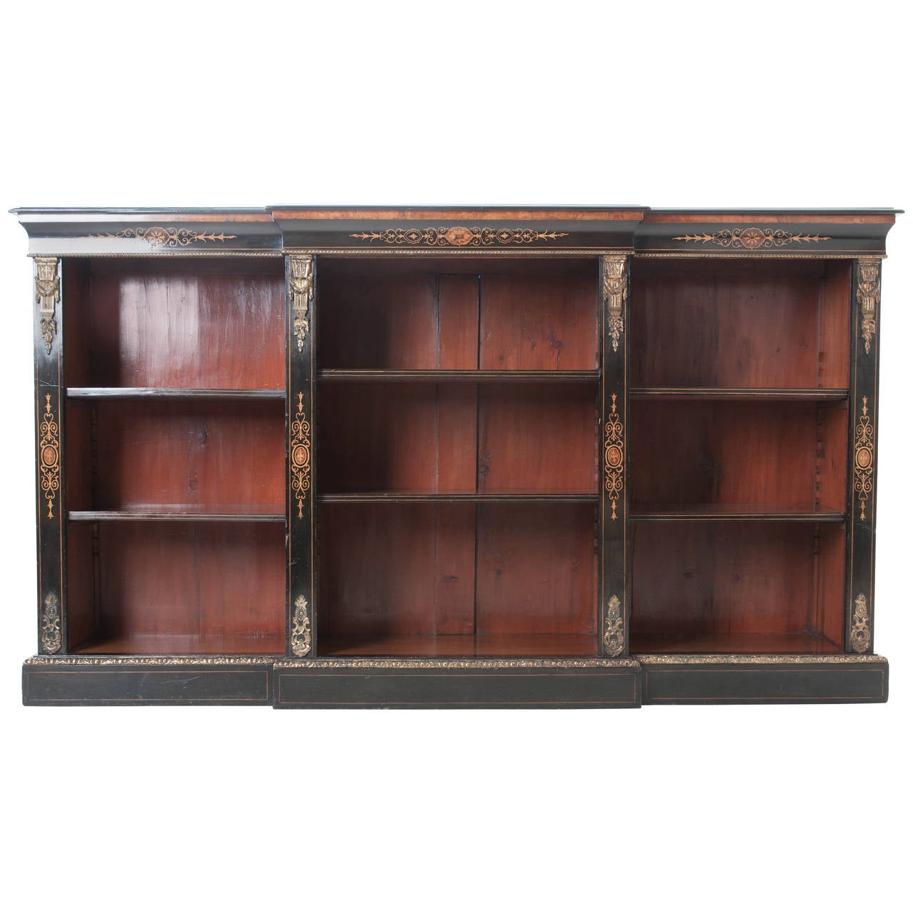 French 19th Century Ebony Breakfront Bookcase At 1stdibs