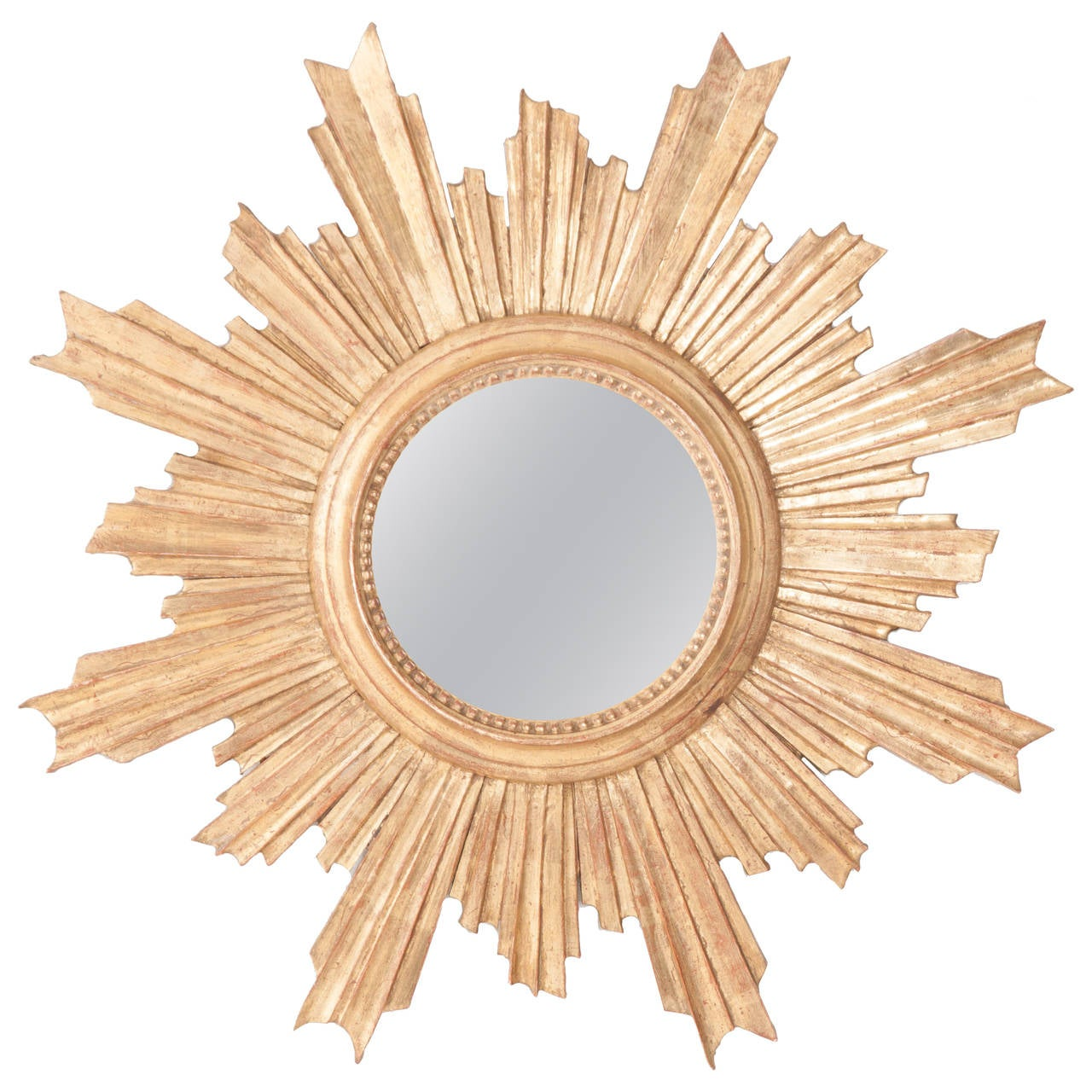 French 19th century convex gold gilt starburst mirror at for What is a gilt mirror