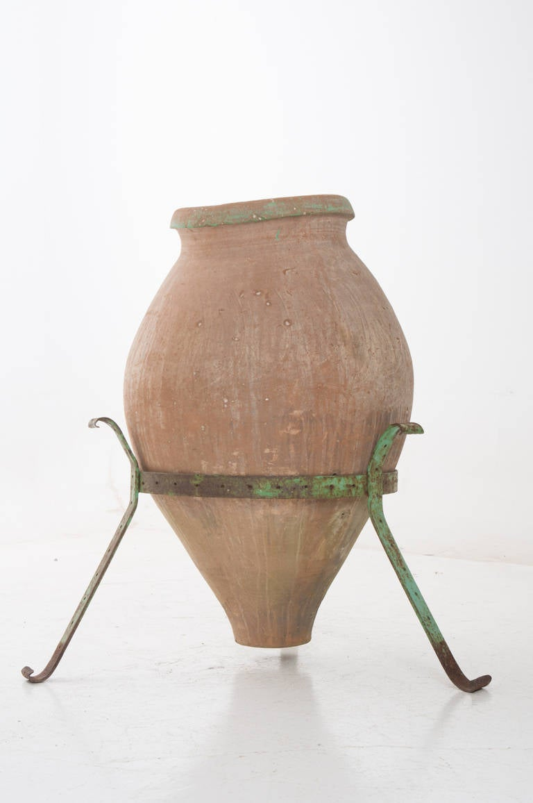 Greek 1920 39 S Large Tapered Terracotta Olive Jar On Painted Stand Image 6