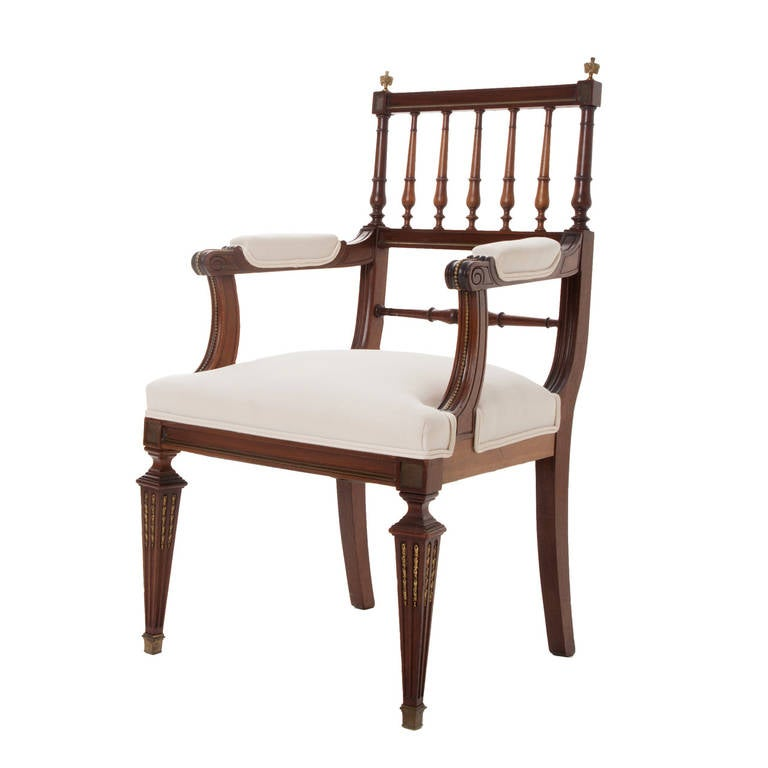 French Louis XVI Style Mahogany Spindle Back Armchair