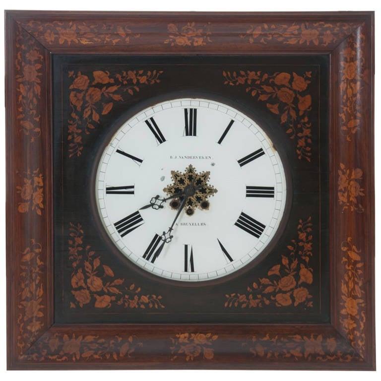 Belgian 19th Century Inlay Wall Clock by B.J. Vanderveken