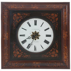 Belgian 19th Century Inlay Wall Clock by B.J. Vanderveken