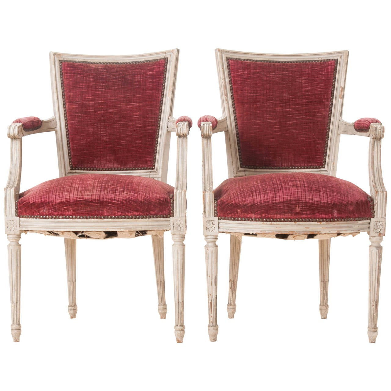 Pair of French 20th Century Louis XVI Style Armchairs For Sale