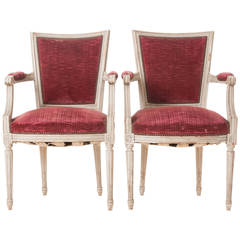 Pair of French 20th Century Louis XVI Style Armchairs