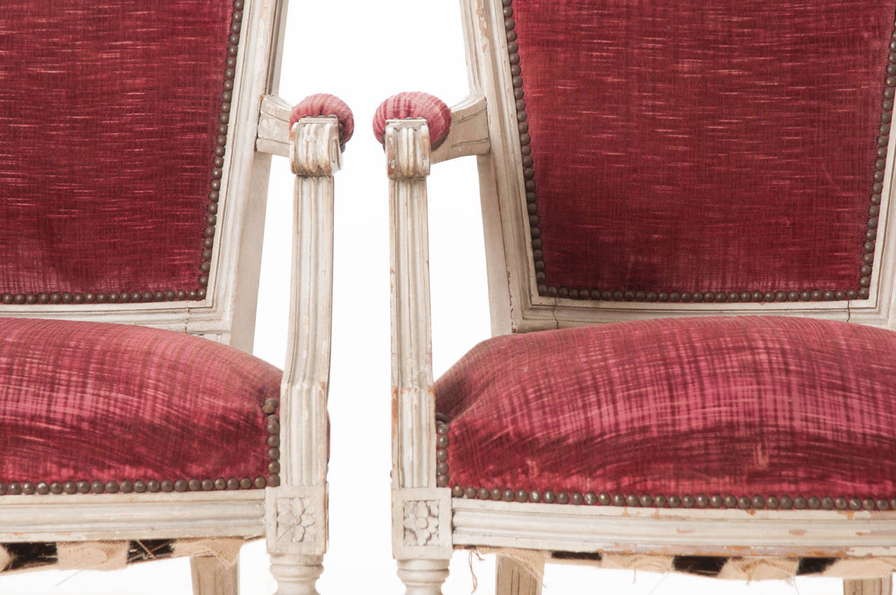 Pair of French 20th Century Louis XVI Style Armchairs For Sale 4