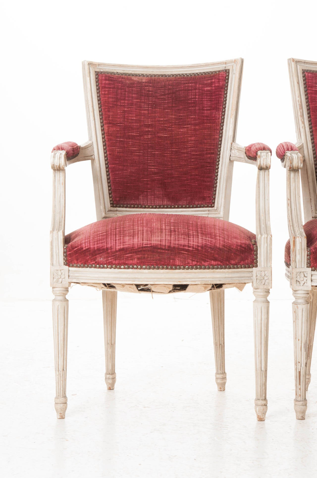 Pair of French 20th Century Louis XVI Style Armchairs For Sale 3