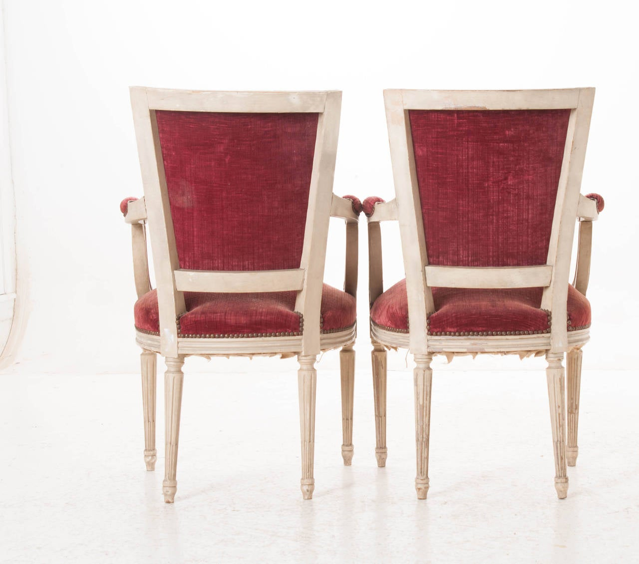 Pair of French 20th Century Louis XVI Style Armchairs For Sale 2