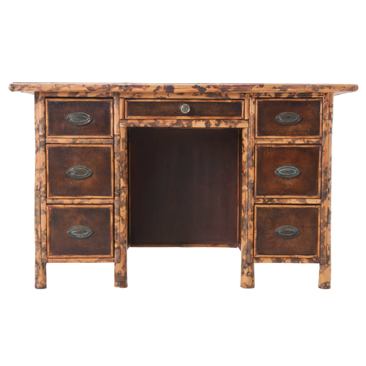 English Bamboo And Leather Desk For Sale At 1stdibs