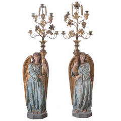 Pair of European 19th Century Polychrome Angels with Chandeliers