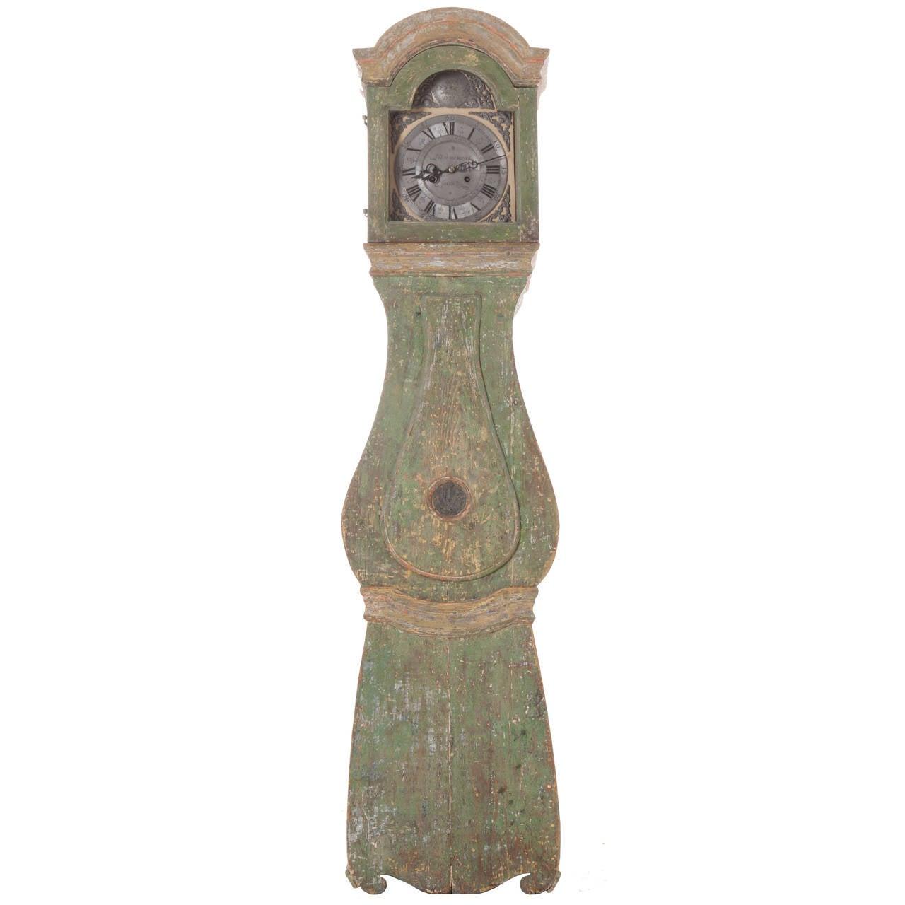 Swedish 18th Century Painted Case Clock