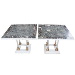 French 1930's Pair of Marble & Metal Tables