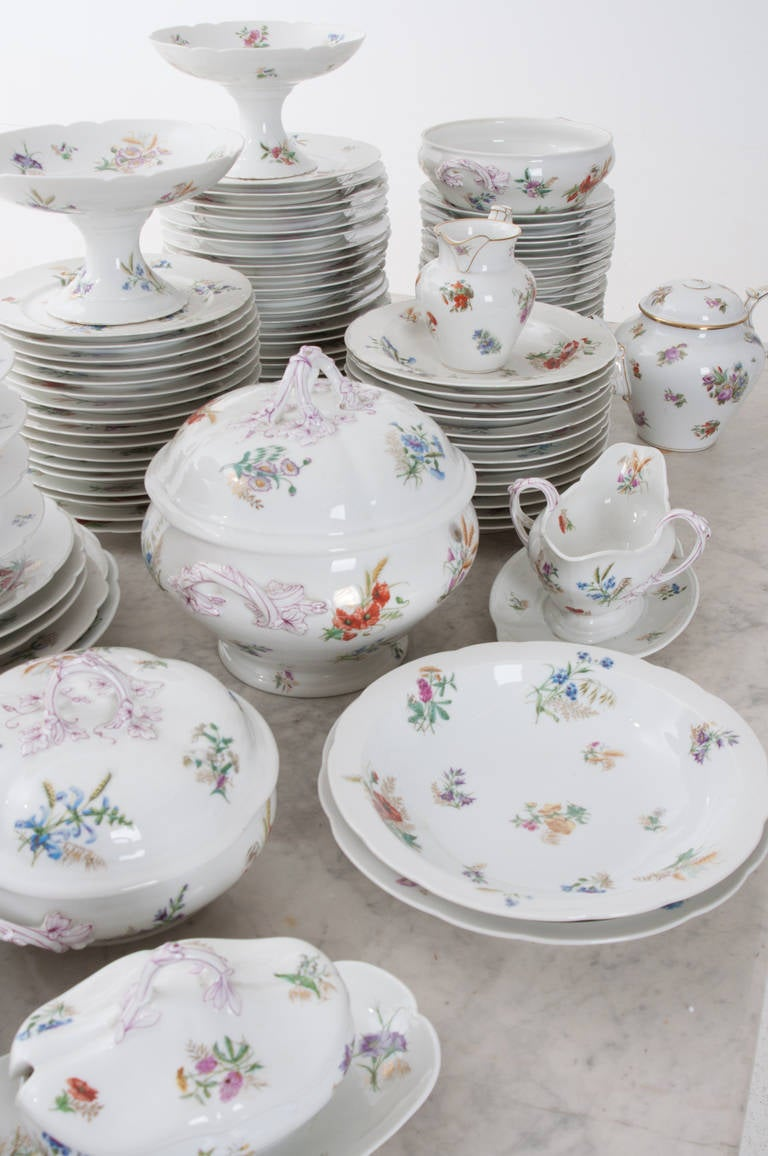 French 19th Century Floral 102 Piece Dinner Service 2