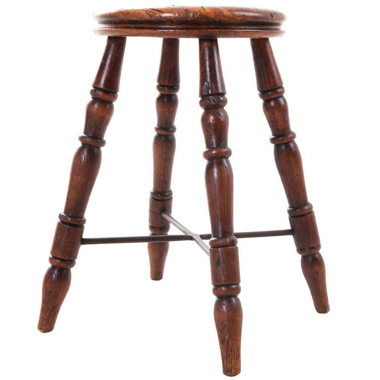 French 19th Century Walnut And Iron Stool At 1stdibs