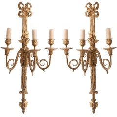 French 19th Century Louis XV Brass Sconces