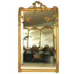 French Gilt 19th Century Floral Swag Mirror