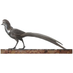French Art Deco Pheasant Statue on Marble